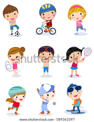 group of sport boys and girls