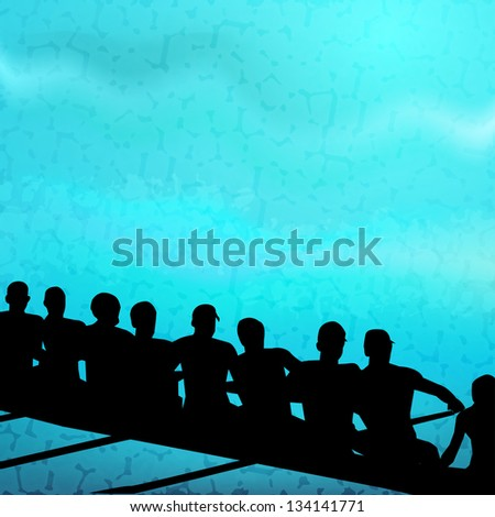 Group of sports person silhouette doing kayaking in beautiful blue water wave background. EPS 10.