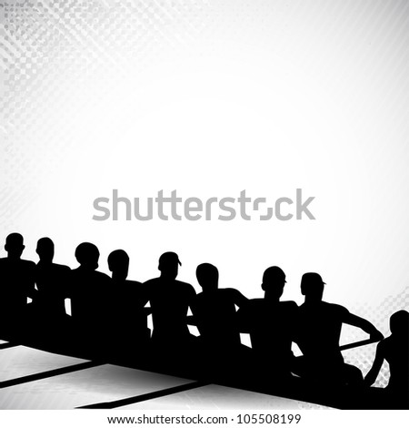 Group of sports person silhouette doing kayaking in beautiful water grunge background. EPS 10.