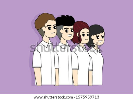 Group of students in school uniform or university uniform, Thai student, Portrait of students standing on purple background.