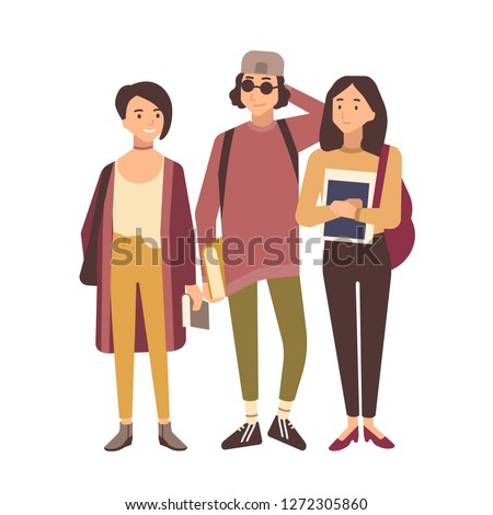 Group of students or pupil isolated on white background. School or university friends standing together. Teenage boy and girls holding textbooks. Colorful vector illustration in flat cartoon style.