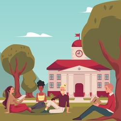 Group of students outside on college campus lawn, flat vector illustration. College or university students sitting on grass in front of campus dormitory building.