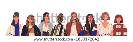Group of stylish young women in trendy clothes. Multinational female fashionable characters together. Concept of diversity, sisterhood. Flat vector cartoon illustration isolated on white