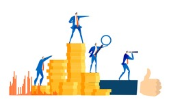 Group of successful business people, bankers stand at stacked up coins and looking to future for best investment, new business start up, financial growth and improvement. Salary, earnings, savings con