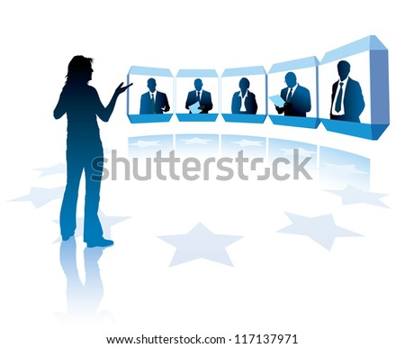 Group of successful businesspeople having a teleconference