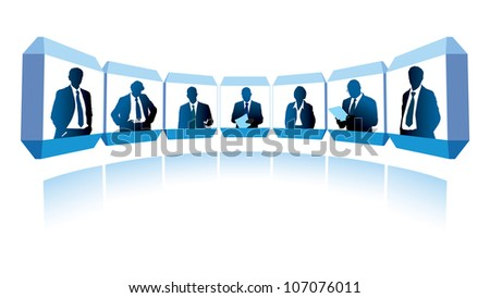 Group of successful businesspeople having a video conference