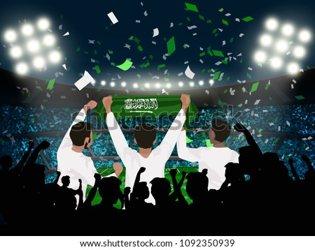 group of supporter hold Saudi Arabia flag among silhouette audience in soccer stadium in vector illustration. concept for football result template use in web or mobile phone application