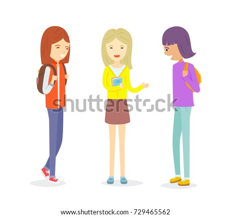 three cute happy friends together vector - download free vector art