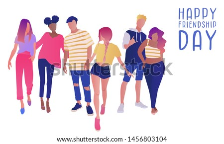 Group of teenage boys and girls or school friends standing together, embracing each other. Happy students isolated on white background. Happy Friendship Day. Flat cartoon vector illustration.