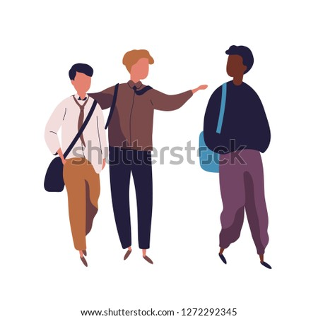 Group of teenage boys isolated on white background. Male students, pupils, classmates or school friends walking together and talking to each other. Colorful vector illustration in modern flat style.
