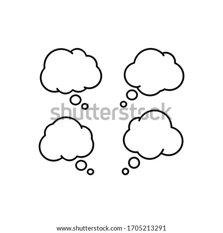 Group of Think Speech Bubble Line Vector on White Background. Speech box for text, chat and discussion. Talk Bubble