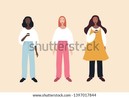 Group of three beautiful stylish cartoon woman characters african-american ethnicity caucasian ethnicity and mix raced isolated on pink background vector illustration