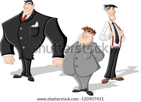 Group of three cartoon business men. Professionals.