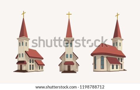 group of three churches with