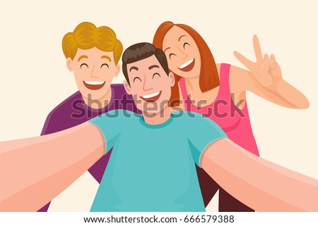 group of three friends taking a
