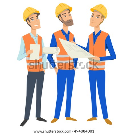 Group of three full length persons (architect, engineer, foreman or worker) wearing protective uniforms and hardhats,  looking at blueprint, holding documents and folder.