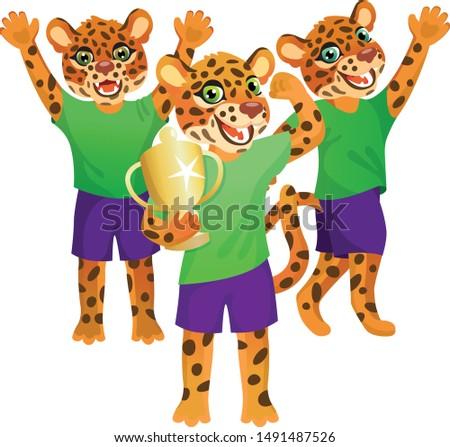 group of three jaguars in