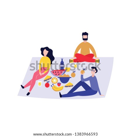 Group of three people having picnic outdoors - best friends enjoying nature together with healthy food and wine on blanket. Men and woman relaxing sitting on ground - isolated vector illustration.