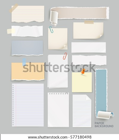 Group of torn paper background. Vector illustrations.