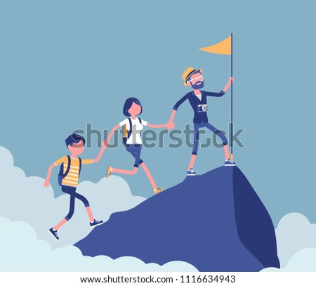 Group of tourists conquering mountain top. Hiking friends accomplishing a desired aim to reach highest, uppermost point, put flag, extreme summer activity. Vector illustration, faceless characters