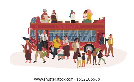 Group of tourists flat vector illustration. Kids, youth and seniors in sightseeing bus isolated cartoon characters on white background. People in casual clothes standing near red double-decker autobus