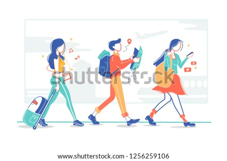Group of tourists, flight passengers go on trip and holiday. Concept young man, woman, girl or student relaxation, after the plane with personal items, equipment. Vector illustration.
