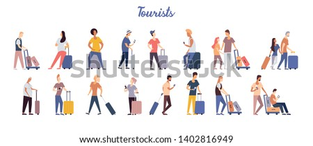Group of tourists with suitcases arrival or departure. Bundle of interracial man and woman travel with luggage. Couple and single people going to summer vacation. Flat cartoon vector illustration