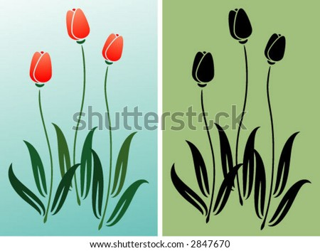 Group of tulips - colors can be changed - stock vector