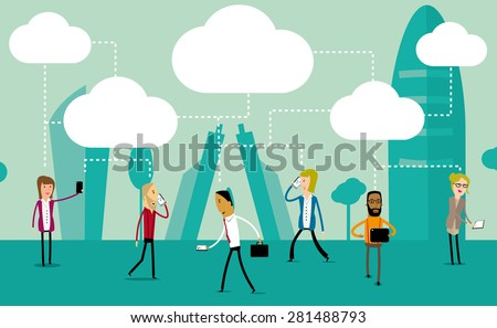 Group of urban people using their phones and tablets to share everything in the cloud. Social media concept vector design