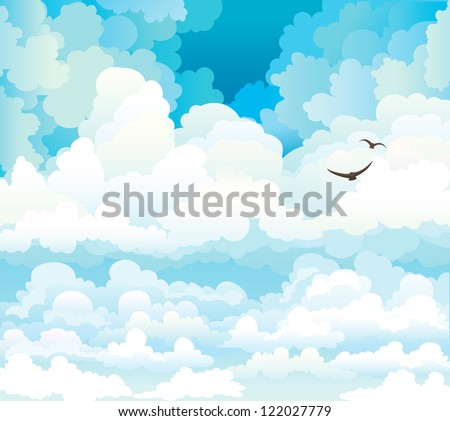group of vector cumulus clouds