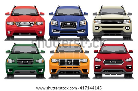Group of vector drawings of the fronts of modern SUVs.