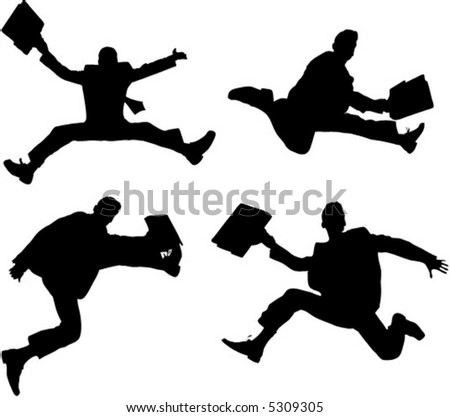 Group of very happy energetic businessman jumping into the air. Vector