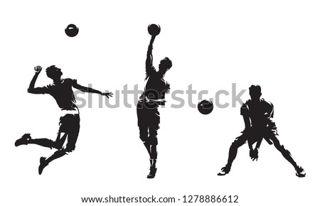 Group of volleyball players, set of isolated vector silhouettes. Team sport, active people. Beach volleyball