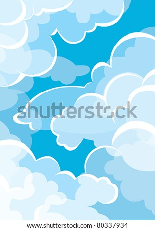 group of white clouds on a blue