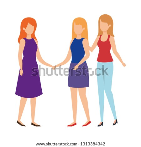 group of women avatars characters #1313384342