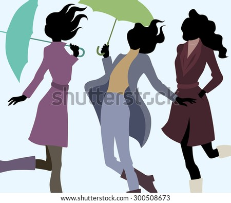 group of women in autumn with