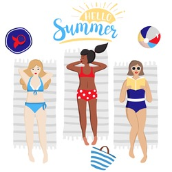 Group of women sunbathing and reading book on the beach. Beautiful young girls in swimsuits lying on the towels. Set of female characters, hat, ball, bag, handwritten inscription hello summer. Vector