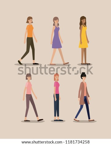 group of women walking characters