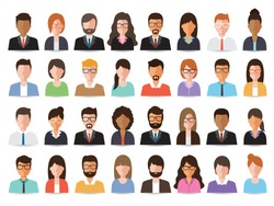 Group of working people, business men and business women avatar icons. Flat design people characters.