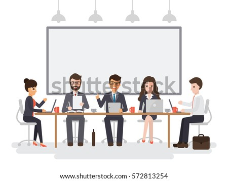 Group of working people, businessmen and businesswomen meeting in conference room, business team brainstorming together in office. Flat design people characters.