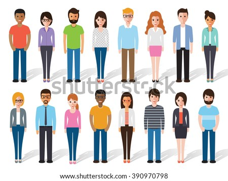 Group of working people standing on white background. business men and business women in flat design characters.