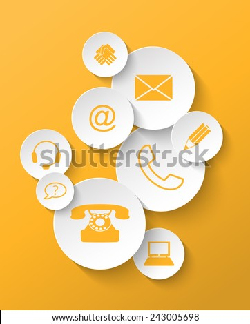 group of yellow contact icons stickers, vector illustration, eps 10 with transparency