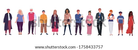 Group of young and old people of different races and cultures isolated on a white background. Flat cartoon characters set. Vector illustration.
