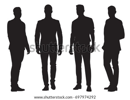 Group of young business men, isolated vector silhouettes