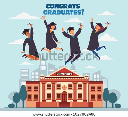 Group of young graduates with diploma jumping over the city. Stylish modern vector illustration with happy male and female teenagers. Graduation concept
