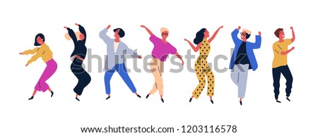 Group of young happy dancing people or male and female dancers isolated on white background. Smiling young men and women enjoying dance party. Colorful vector illustration in flat cartoon style. #1203116578
