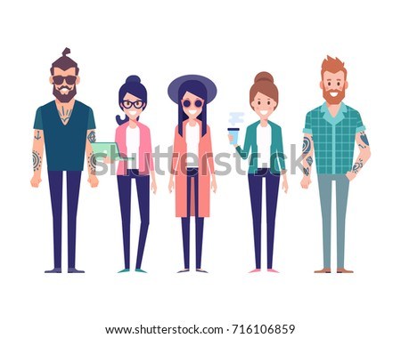group of young hipster friends