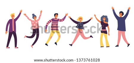 Group of young joyful laughing people jumping with raised hands isolated on white background. Happy positive young men and women rejoicing together. Colored vector illustration in flat cartoon style