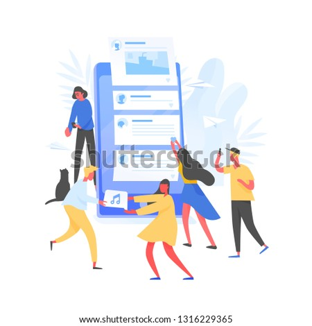 Group of young men and women and giant smartphone with posts on screen. Concept of internet content creation and sharing on social media, blogging and microblogging. Modern flat vector illustration.