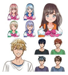 group of young people anime style characters vector illustration design